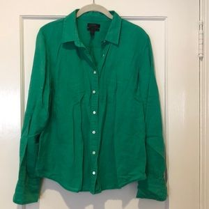 JCrew Green Perfect Fit Button Down in Linen - 14